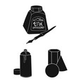 painter and drawing black icons in set collection vector image vector image