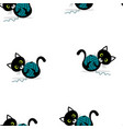 pattern with cat and wool ball vector image