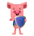 pig with shield on white background vector image vector image