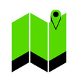 pin on the map green 3d icon with black vector image