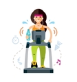 Pretty woman running on a treadmill vector image