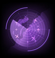 purple radar screen with airplane and map vector image