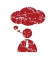 Red grunge speaking people logo vector image