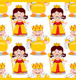 seamless pattern with cartoon king and queen vector image vector image