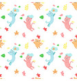 seamless pattern with cats autumn leaves vector image