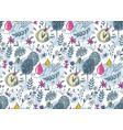 seamless pattern with hand drawn floral nature vector image vector image