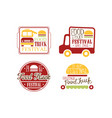 set bright colored logos for food truck vector image