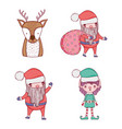 set deer with santa claus and elf vector image vector image