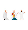 set islamic man in a white robe vector image vector image