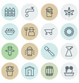 set of 16 holticulture icons includes bucket vector image vector image
