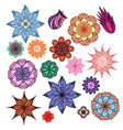 set of colorful doodle flowers with boho pattern vector image
