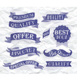Set of retro ribbons and labels blue pen vector image
