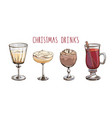set popular christmas drinks isolated on white vector image vector image