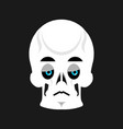 Skull sad emoji skeleton head sorrowful emotion vector image