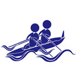 Sport icon design for kayaking in blue vector image vector image