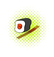 Sushi roll icon in comics style vector image vector image