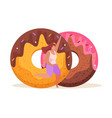 sweet donuts flat composition vector image