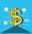 symbol dollar with bills and set icons vector image