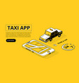 taxi app halftone isometric vector image