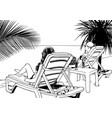 two woman lying on beach lounger vector image