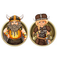 Viking male and female on round badge vector image