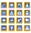 wedding icons set blue square vector image