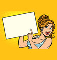 woman points to a blank vector image