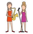 women singing and playing saxophone vector image vector image
