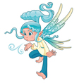 Young fairy blowing a spell vector image