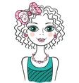 Cute funny teen girl vector image