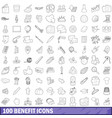 100 benefit icons set outline style vector image vector image