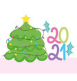 2021 happy new year cute tree with lights vector image vector image