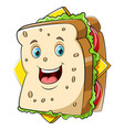 a cartoon happy sandwich character vector image vector image