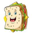 a cartoon happy sandwich character vector image