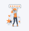 a girl holds a five-star rating sign above her vector image vector image