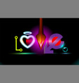 abstract background inscription love with heart vector image