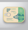 abstract fish aluminium container with vector image vector image