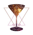 abstract polygonal tirangle cocktail with open vector image vector image