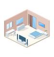 bedroom interior cross section vector image vector image