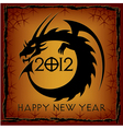 black dragon 2012 new year card vector image