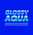 blue banner glossy aqua with trendy font vector image