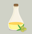 bottle of olive oil and branch flat vector image vector image
