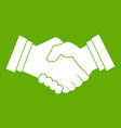 business handshake icon green vector image