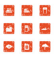 chemical enterprise icons set grunge style vector image vector image