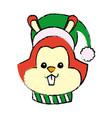 christmas squirrel animal scarf hat decoration vector image