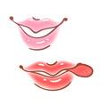 colorful fun set of female lips stickers icons vector image