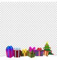 colourful gift boxes on white snow isolated vector image vector image
