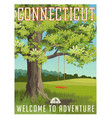 connecticut travel poster or sticker vector image vector image