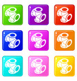 cross pipe water icons set 9 color collection vector image vector image