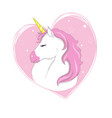 cute unicorn magic character with pink mane vector image vector image